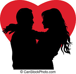 Couple in love - Abstract vector illustration of couple in...