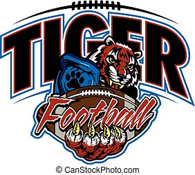 tiger football team design with mascot and ball for school,...