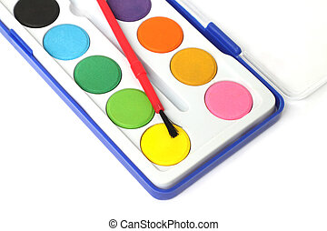 Children color palette box on white background