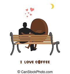coffee lovers. Coffee beans and man looking at moon. Date night. Lovers sit on bench. Month in night dark sky. Romantic illustration food