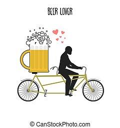 Beer lover. Beer mug on bicycle. Lovers of cycling tandem....