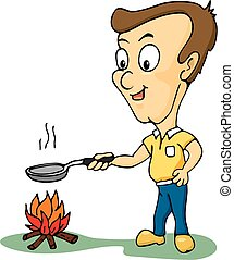 cartoon of Man cooking
