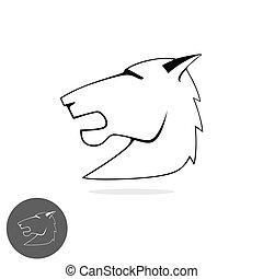Horse bronco head vector logo out line