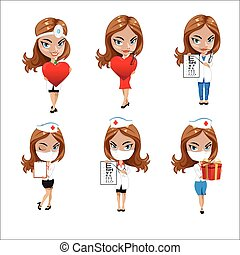 Doctors set of girls in various poses, woman doctor, nurse, health worker with different objects