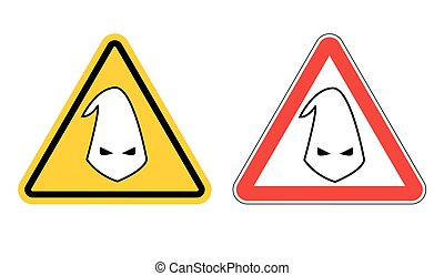 Warning sign of racism Hazard Yellow Sign race...