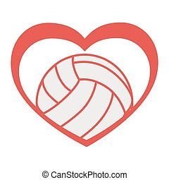 volleyball love heart vector graphic icon