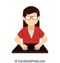 women glasses front desk uniform icon vector graphic - woman...