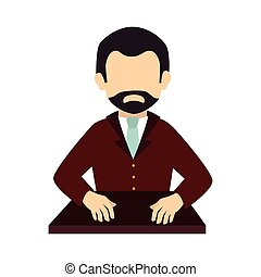 man beard suit tie business  icon vector graphic