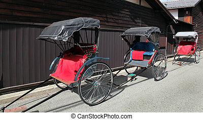 Traditional Japanese rickshaws in Takayama Japan. This type...