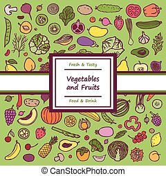 Vegetables and Fruits Doodle Card