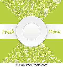 Vegetables and Fruits Doodle Menu