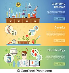 Biotechnology And Genetics Horizontal Banners -...