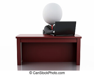 3d businessman people working at office - 3d illustration....