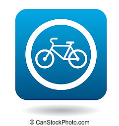 Sign bicycle path icon, simple style - Sign bicycle path...