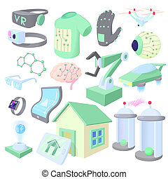 Technology icons set, cartoon style - Technology icons in...