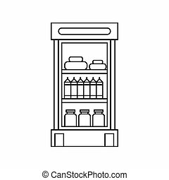 Products in the supermarket refrigerator icon in outline...
