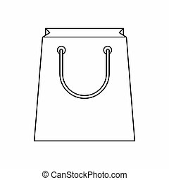 Paper shopping bag icon, outline style - Paper shopping bag...