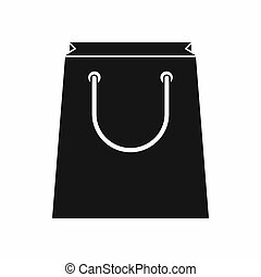 Paper shopping bag icon, simple style - Paper shopping bag...