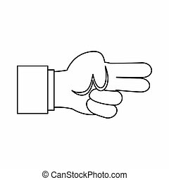 Hand showing two fingers icon in outline style isolated...