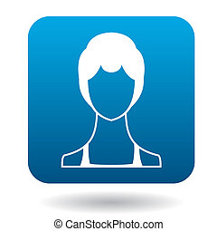 Avatar woman with short hair icon, simple style - Avatar...