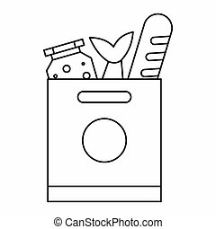 Grocery bag with food icon, outline style - Grocery bag with...