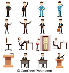 Business icons set, cartoon style - Business icons in...