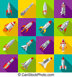 Space rocket icons set, flat style - Space rocket icons in...