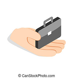 Hand holds a suitcase icon, isometric 3d style - Hand holds...