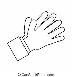 estilo, Esboço,  clapping, aplaudindo, mãos, ícone