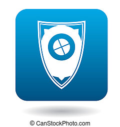 Protective shield icon, simple style - Protective shield...