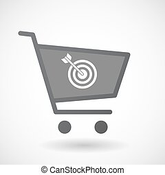 Isolated shopping cart icon with a dart board - Illustration...