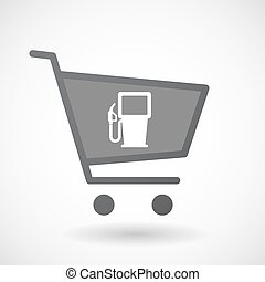 Isolated shopping cart icon with a gas station -...
