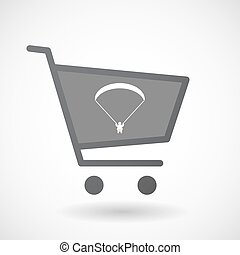 Isolated shopping cart icon with a paraglider