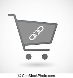Isolated shopping cart icon with a broken chain