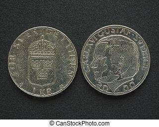 1, Sueco, krona, (SEK), moeda, moeda corrente, de,...