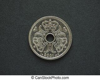 2 Danish Krone DKK coin, currency of Denmark DK