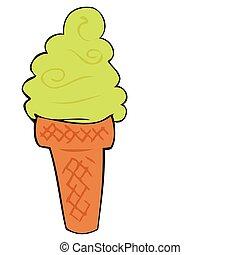 Pistachio ice cream cone.