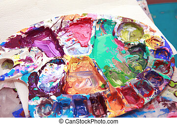 Leftovers residues of paints in colour array - Beautiful...