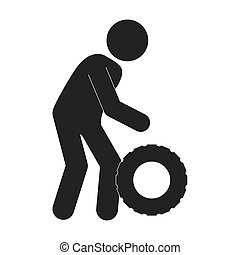 puncture tire man vector graphic icon - puncture tire man...