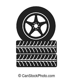 tire wheel car stack  rim vector graphic icon
