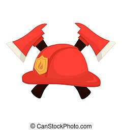 hat fireman axe crossed firefighter cap icon vector graphic...