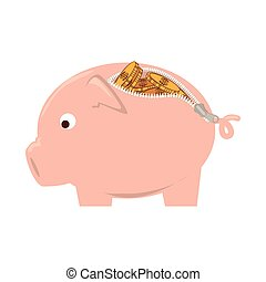 piggy purse zipper vector graphic icon - purse piggy money...