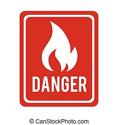 fire danger flame sign icon vector graphic