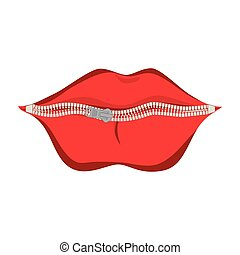 mouth zipper kiss lips icon vector graphic