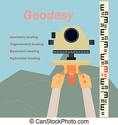 Surveying Tool Level - The geodetic device. Topography in...