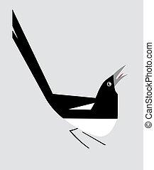 Minimalistic image of magpie - Minimalism image of magpie on...