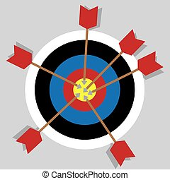 Bullseye Multiple Arrows - Bullseye with multiple arrows in...