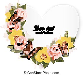 Heart shaped banner with roses and yellow orchids. Vector.
