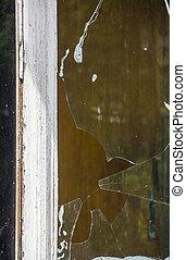 broken window - close-up old window with broken glass