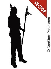 Silhouette of a native american indian with spear on white...